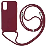 JMstore Funda con Cuerda Compatible con Samsung Galaxy S20 Ultra/S11 Plus Ajustable Collar Correa de Cuello Cordón Carcasa de Silicona Colgante (Rojo)