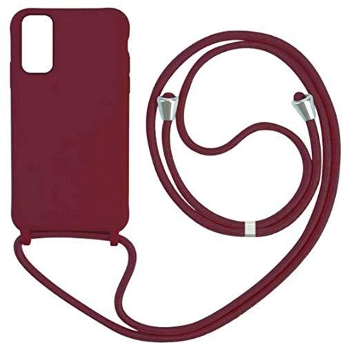 JMstore Funda con Cuerda Compatible con Samsung Galaxy S10E Ajustable Collar Correa de Cuello Cordón Carcasa de Silicona Colgante (Rojo)