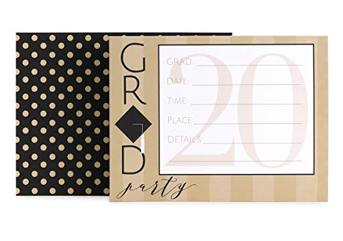 Hortense B. Hewitt Party-Einladungen, 24 Stück, Congrats Grad 2020, 11,7 x 15,9 cm, Schwarz und Gold
