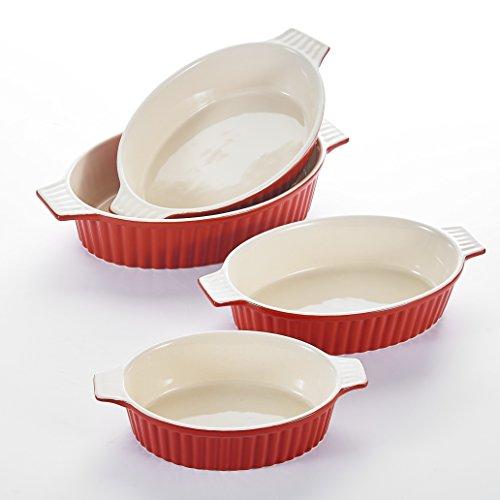 MALACASA Série Bake 4pcs Plat à Four Porcelaine Plat Cuisson Lasagne Poisson Plats Rôtir Ramequin à Gratin avec Poignée Assiette Soupe Bol Oval 9'+11,25'+12,75'+14,5' (Rouge)