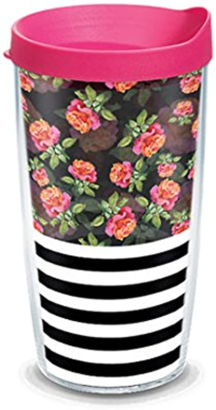 Tervis 1210159 Horizontal Stripe And Roses Wrap With Lid 16oz Tumbler