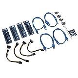 Almencla Set di Riser PCI-E, Scheda Grafica da 1X A 16X di Estensione Grafica Alimentata con Riser + Cavo USB 3.0 da 60 Cm + Cavo Elettrico