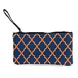 Bearget - Funda para monedas, diseño marroquí, color naranja y azul marino