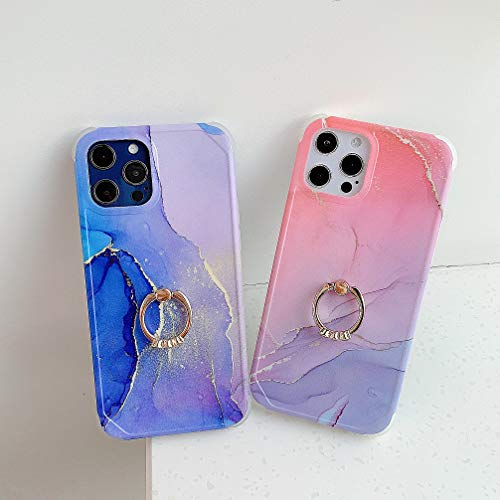 かわいい iPhone 13 Pro Max ケース リング付き きらきら 大理石 おしゃれ アイフォン13 プロマックス TPU ケース スマホケース リング ホルダー 可愛い ソフト シリコン スタンド 耐衝撃性 (iPhone13ProMax, ピンク紫)