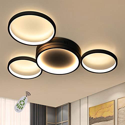 ZMH Deckenlampe LED Wohnzimmerlampe Schwarz Deckenleuchte dimmbar Modern Ring Design 4 Flammig mit Fernbedienung 52W Innen aus Aluminium für Schlafzimmer Wohnzimmer Büro Kinderzimmer Esszimmer