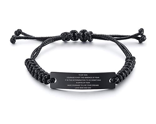 MEALGUET Stainless Steel Handmade Black Adjustable Cord Inspirational Courage Quote to My Son Bracelets to Boys,Birthday Graduation Gift Love from Mom Dad