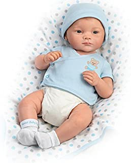 The Ashton - Drake Galleries Lifelike Newborn Baby Doll by P Lau Includes Blanket and More (Blue)