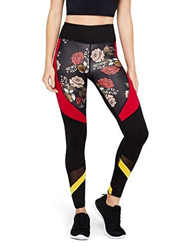 Marque Amazon - AURIQUE Legging de Sport Bicolore Taille Haute Femme, Noir (Black/Red Floral Print), 40, Label:M