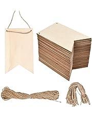 WOWOSS Etiquetas de Madera 48 placas de madera 14.5 x 9.2 cm + cuerda de cáñamo 20 metros