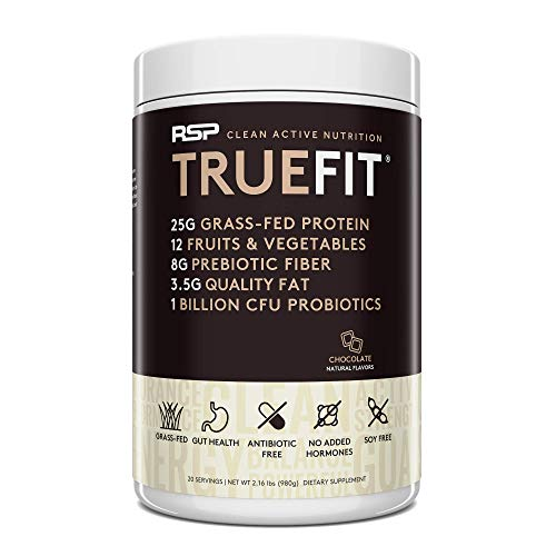 RSP TrueFit All-in-One Performance Protein Powder, Grass Fed Whey + Probiotics, Post Workout Shake & Meal Replacement, Muscle Building, Gut Health, 2LB