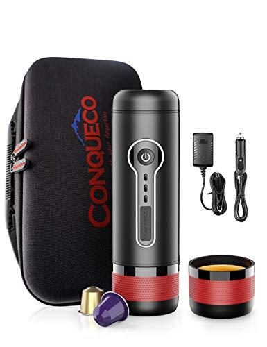 CONQUECO Tragbare Espressomaschine reise Siebtraeger Automatische Kaffeekapselmaschine Ein-Knopf-Bedienung BPA-frei für Reisen, Zuhause, Büro (mit weichem Fall)