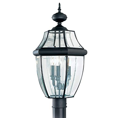 Sea Gull Lighting 8239-12 Lancaster Traditional Three Light Outdoor Post Lantern Outside Fixture, 24'' Height, Black Finish