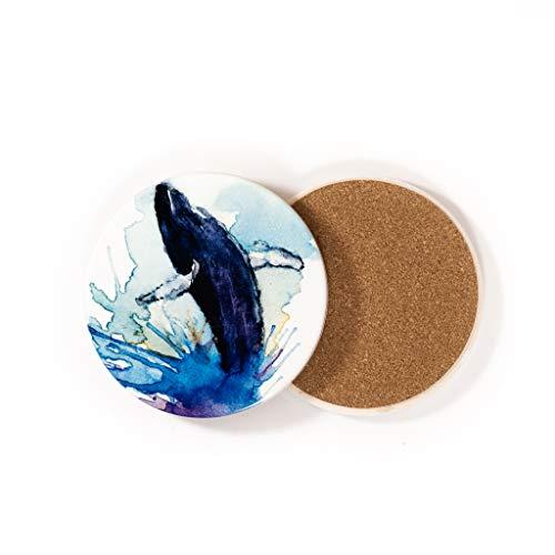 Dessous de verre en céramique | Baleine Dancing in The Sky | par Islandic Craft and Design