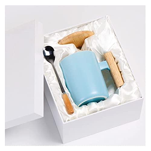 HCFSUK Taza de café, Taza de té Blanca de cerámica Brillante para el hogar con Mango de Madera para lavavajillas y microondas 1 Paquete con Cuchara de café Rosa Azul (Color: A)