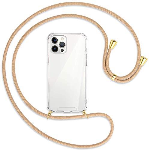 mtb more energy® Collar Smartphone para Apple iPhone 12 Pro MAX (6.7'') - Beige/Oro - Funda Protectora ponible - Carcasa Anti Shock con Cuerda Correa