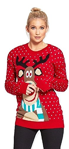 Momo&Ayat Fashions Ladies Rudolf Pom Pom Knitted Christmas Jumper UK Size 8-18 (Red, S/M (UK 8-10))