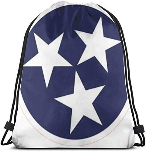 March flowers Tennessee Tristar Flag 3D Print Drawstring Backpack Rucksack Shoulder Bags Gym Bag for Adult 16.9\