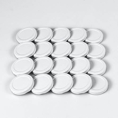 Generator butelek – 20 zakrętanych pokrywek 48 mm, kolor biały, do szklanych butelek, mleka, soku, przetworów, słoików na marmoladę i słoików na przetwory TO 48