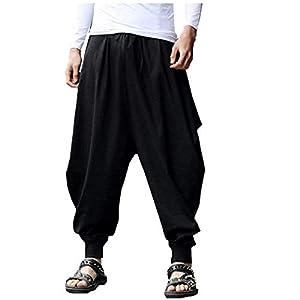 Charku パンツ メンズ サルエルパンツ カジュアル ヒップホップ 夏服 メンズ サルエルパンツ アラジンパンツ リネン ズボン カジュアル スウェット 薄手 ユニセックス ゆったり 大きいサイズ スウェット 無地 オールシーズン対応 ズボン