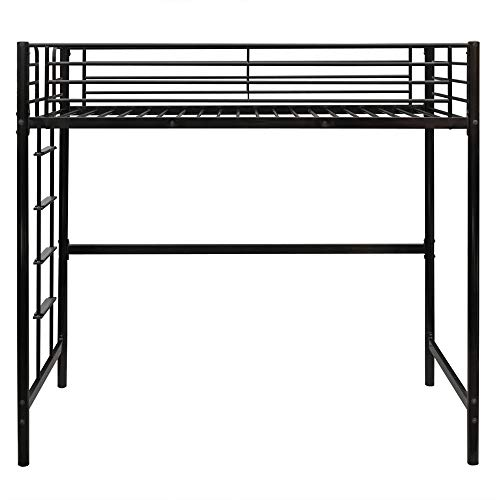 Bonnlo Metal Twin Loft Bed for Kids Space Saver Bed Frame, Black