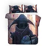 Probuk Star Wars Baby Yoda Juego de ropa de cama Anime de microfibra, funda nórdica para niños y niñas, con funda de almohada (A-02,150 x 200 cm (80 x 80 cm)