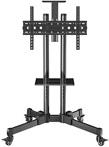 FCYQBF Universal Swivel Table Top TV Stand Stainless Steel TV Floor Floating Shelf for 42—65 Inches TVs Black TV Floor Stand Bracket on Wheels Castor