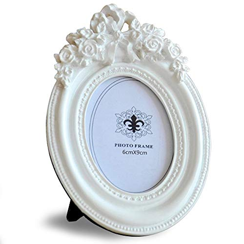 Giftgarden--Marco Oval Creativo y Moderno de Estilo Europeo,con Relieve de Rosa.Blanco.