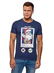 oodji Ultra Hombre Camiseta Navideña de Algodón con Estampado Papá Noel