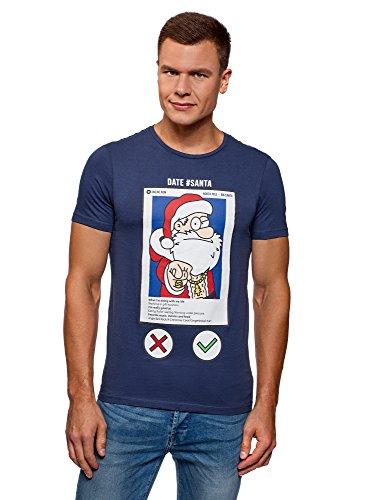 oodji Ultra Hombre Camiseta Navideña de Algodón con Estampado Papá Noel, Azul, ES 44 / XS
