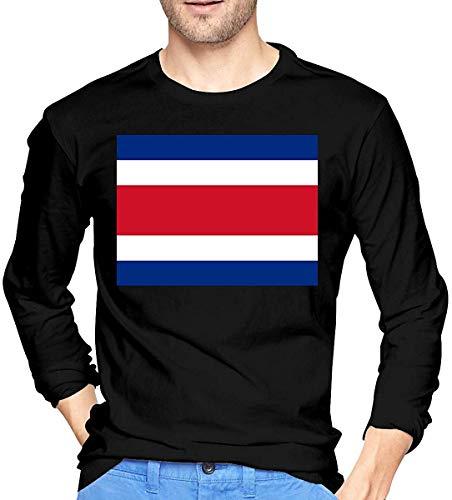 Tailandia Flag Camiseta de Manga Larga para Hombre Camisas de algodón con Cuello Redondo