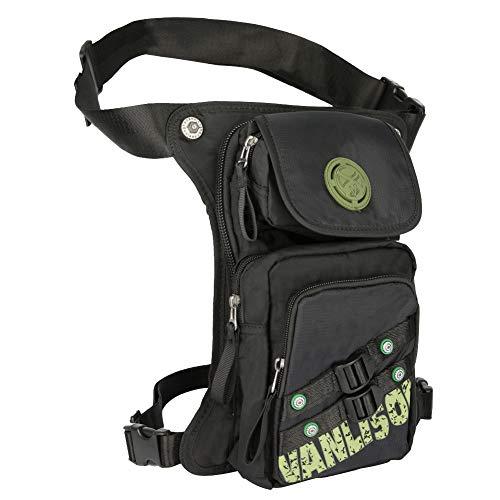 Vanlison Sac de jambe, sac de randonnée, sac de moto, sac de cuisse, sac banane tactique, pochette de jambe, sac banane dissimulé, noir