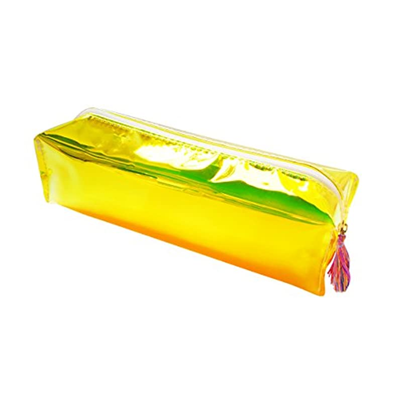 E-Goal Bright Color PU Leather Transparent Pencil Case Stationery Storage Organizer Cosmetic Pouch,Yellow zh687800070