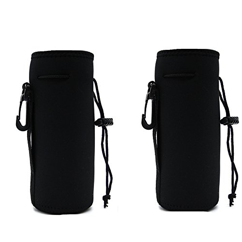 Water Bottle Carrier Bag Pouch Cover, Insulated Neoprene Water Bottle Holder - Great for Stainless Steel, Glass, or Plastic Bottles (BLACK 2PACK)
