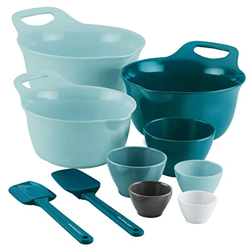 Rachael Ray Tools and Gadgets Mix and Measure Cooking / Baking Prep Set with Mixing Bowls, Measuring Cups, and Tools - 10 Piece, Light Blue and Teal