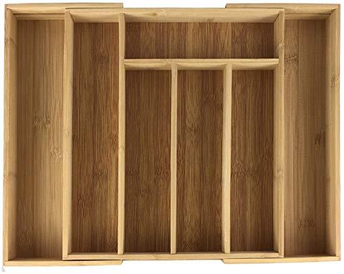 GMMH Bambusowy pojemnik na sztućce, wkład na sztućce, organizer kuchenny, wkład do szuflad, drewno naturalne (33,5 x 29 x 4,5 cm)