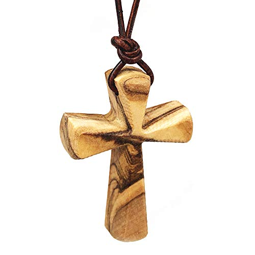 Hand Carved Tapered Wooden Cross Necklace for Men & Women on Adjustable 32' Brown Leather Cord - Wood Cross Pendant for Boys Girls Men & women