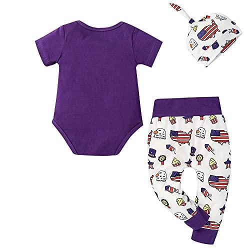 Glosun Traje de día de la independencia del bebé recién nacido con estampado de letras y pantalones de dibujos animados + gorro anudado