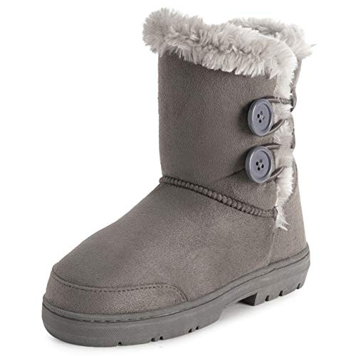 Holly Kids Girls Button Winter Snow Rain Cosy Casual Warm Boots - 5 - GRE37 EA0447