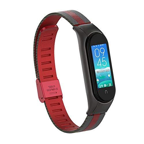 T-Bluer Armband kompatibel mit Xiaomi Mi Band 5, Edelstahl-Metall-Armband für Xiaomi Mi Band 5, kein Tracker im Lieferumfang enthalten, Stil3-Schwarz Rot