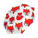 Ahomy Art Regenschirm 3-Fach faltbar Hipster Fox Reise-Regenschirm, robust, Winddicht, Anti-UV Sonnenschirm, automatisches Öffnen/Schließen