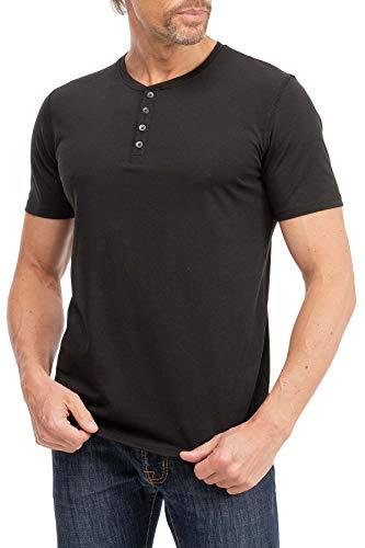 Mivaro Herren T-Shirt mit Knopfleiste, Kurzarm Shirt mit Knöpfen, Größe:L, Farbe:Schwarz