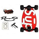 Mini Longboard Cruiser Skateboards – Tavola piccola per adulti e bambini con ampia tavola da skateboard da 17,5 pollici in acero e grandi ruote longboard, colore: rosso