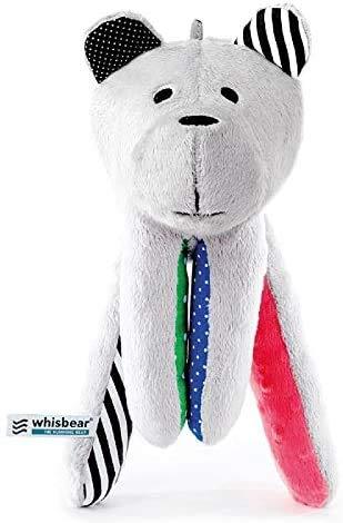 Whisbear - der summende Bär, Ein- und Durchschlafhilfe für Babys und Eltern, Stofftier mit integriertem CrySensor, melone