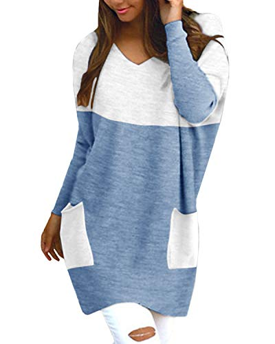 Style Dome Pullover Damen V-Ausschnitt Langarmshirt Bluse Stricken Tunika Loose Tops Patchwork Blau-F21700 XXL