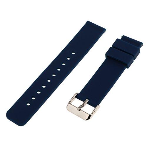 MagiDeal 1 STK. Silikon Uhrenarmband mit Federleiste und Edelstahlschnalle für Armbanduhr - Navy blau, 18mm