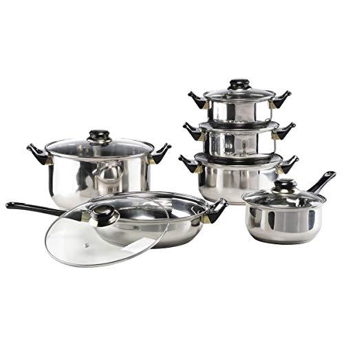 HI Edelstahl Kochtopf Set (12-teilig) - Töpfe Set mit 5 Töpfen inkl. Deckel + Pfanne, Kochtöpfe Set für Ceran, Gas und Elektro, hochwertiges Topf Set