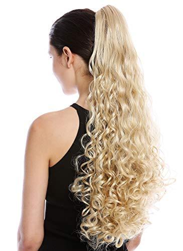 WIG ME UP - N440-V-26 Haarteil Zopf Pferdeschwanz Locken lockig sehr lang 60 cm helles Blond Goldblond