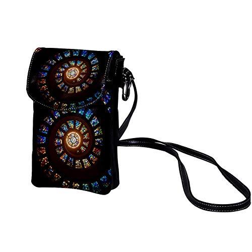 Xingruyun Mini Umhängetasche Whirlpool Klein Schultertasche Ledertasche Handtasche Taschen für Mobiltelefon, Portmonee, Karten und Reisepass, Passport Holder 19x12x2cm
