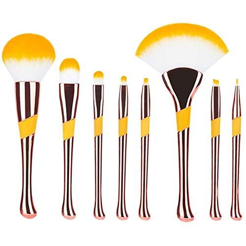 Sets de pinceaux de Maquillage 8 Maquillage Pinceau Outils De Maquillage Pinceau Ombre À Paupières Blush Brosse Poudre Libre Maquillage Pinceau Cadeau De Noël Brosse À Lèvres (Color : Rose Gold)