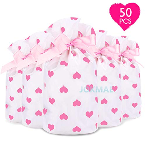 Valentines Day Treat Bags Candy Goodie Party Supplies - 50 Packs Pink Heart Drawstring Plastic Wrap, Chocolate Biscuit Cookie Cellophane Package, Gift Idea for Wedding Baby Shower Kids Students